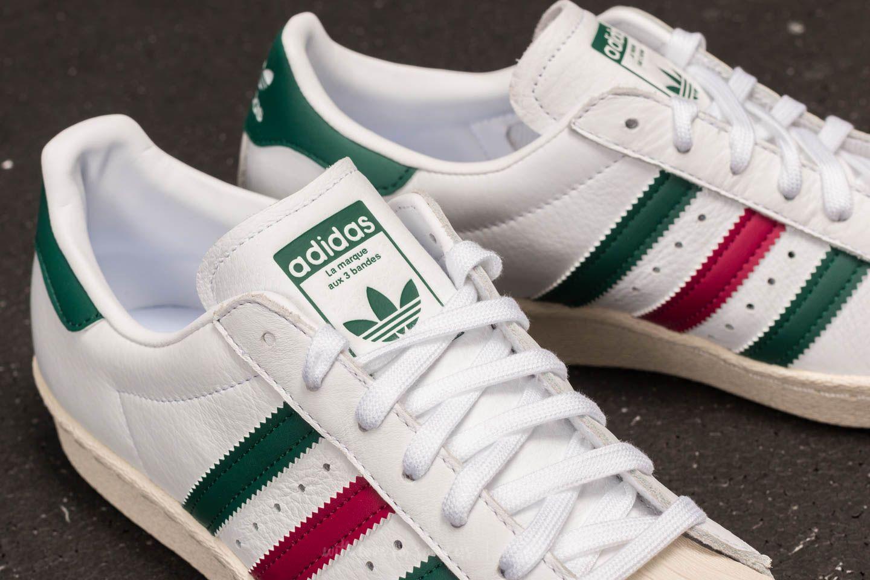 adidas Superstar 80s Ftw White Collegiate Green Mystery Ruby | Footshop