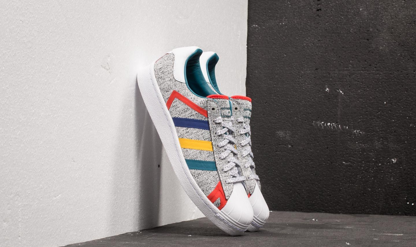 adidas x White Mountaineering Superstar Boost Light Grey Heather Real Teal Ftw White | Footshop