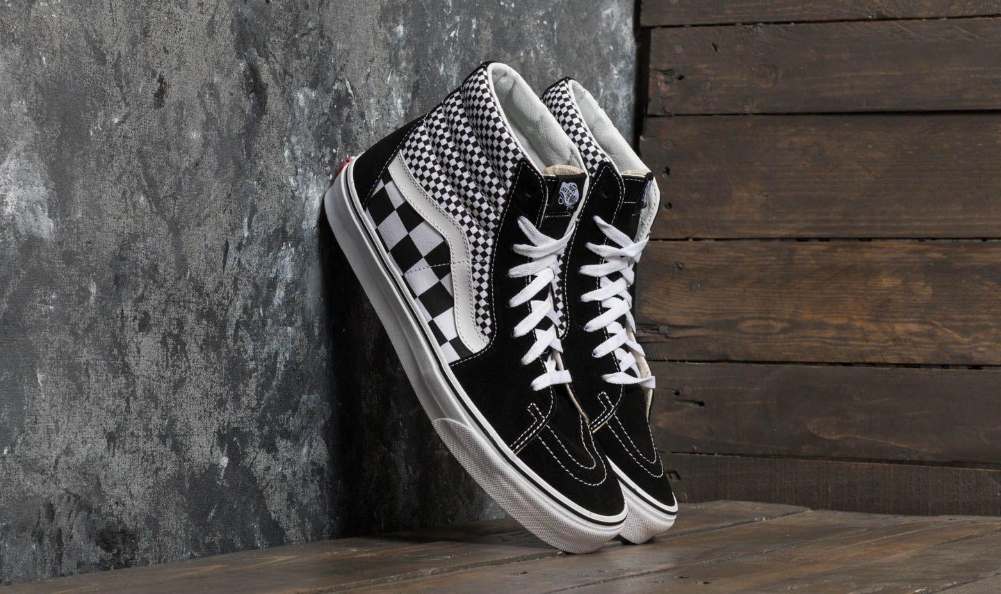 Vans SK8-Hi (Mix Checker) Black  True White  da184a792