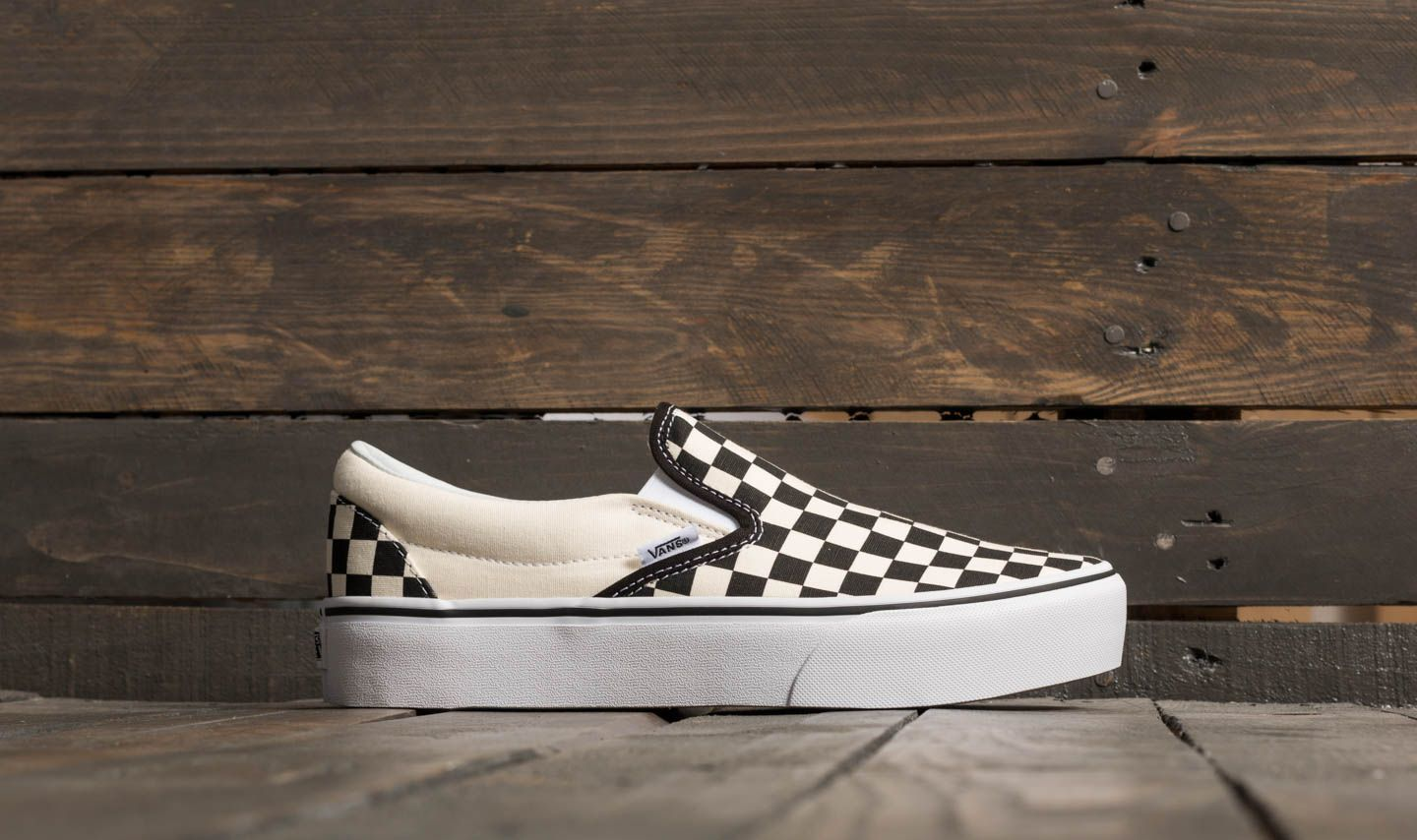 25b50990699692 Vans Classic Slip-On Platform Black And White Checkerboard  White at a  great price