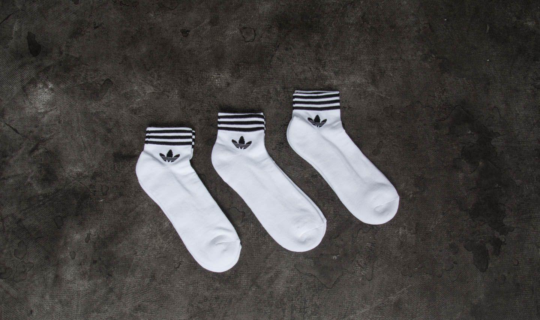 adidas Trefoil Ankle 3 Pack Socks White