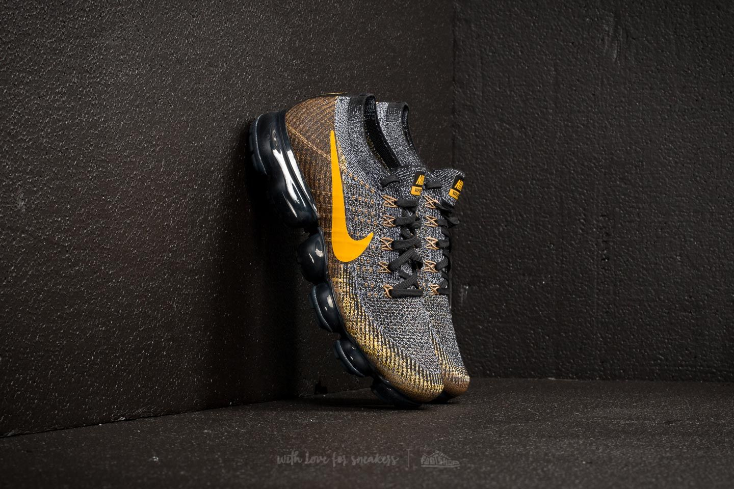 fa05e0287de7 Nike Air Vapormax Flyknit Black  Mineral Gold-Dark Grey