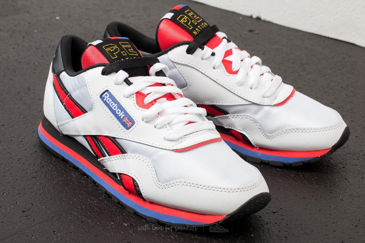 2d0a69d5376 Reebok x P.E. Nation Classic Nylon White  Day Glow Red  Black W super cenie