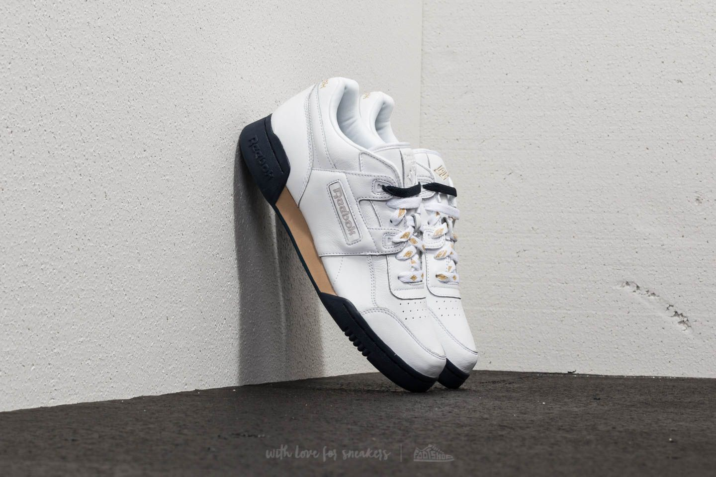 36f210f9375 Reebok x Beams Workout Lo Plus White/ Gold Mat/ Coll Navy | Footshop