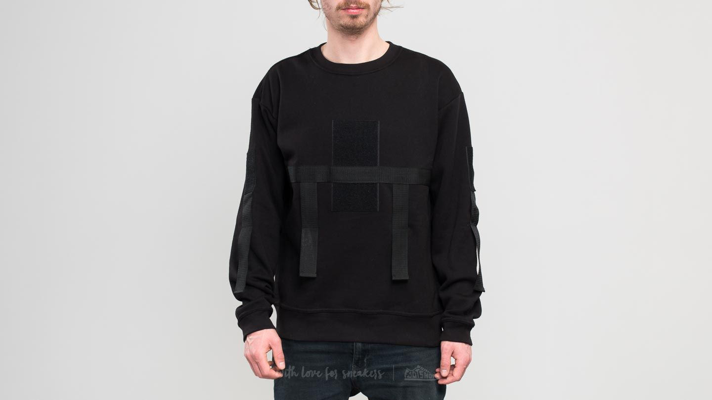 LA RACAILLE Strapped Crew Sweat Black