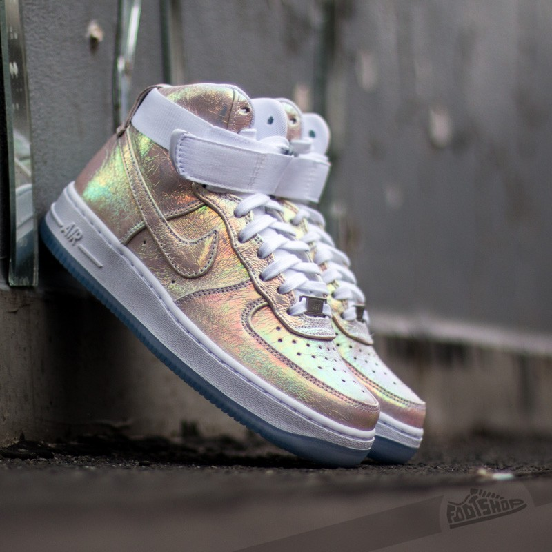 new products 31ce6 08b7c Nike Wmns Air Force 1 HI PRM QS White Metalic Silver Iridescent Pearl