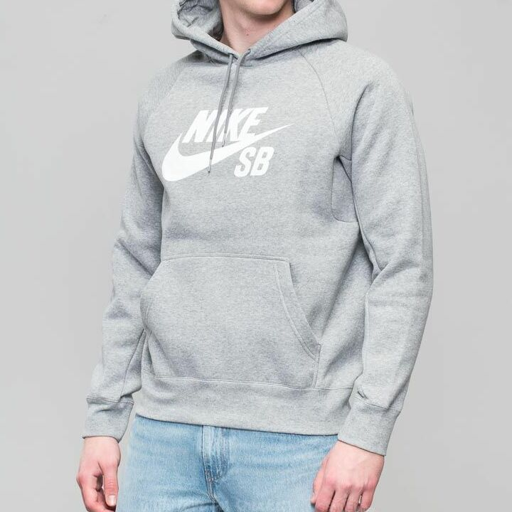 Nike SB Icon Hoodie Dark Grey Heather/ White XXL