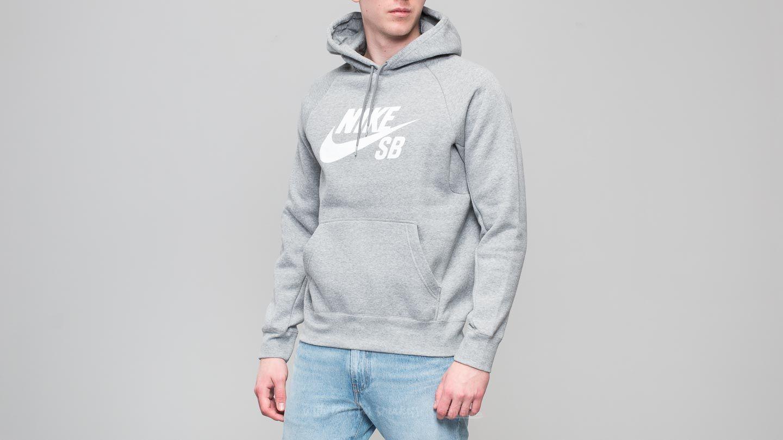 Nike SB Icon Hoodie Dark Grey Heather White | Footshop