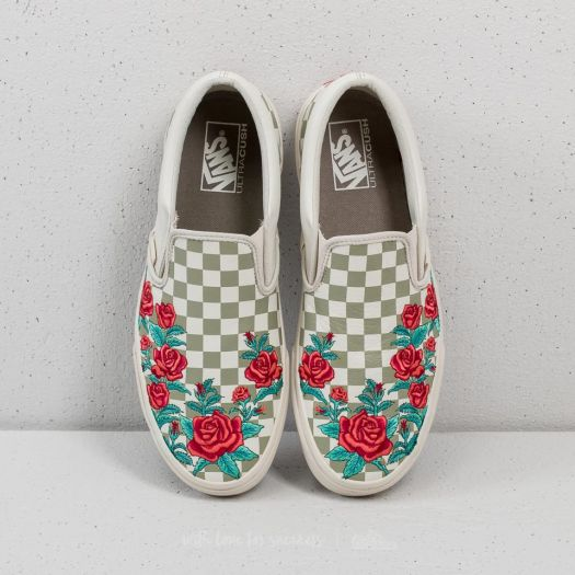 vans chaussures rose embroidery classic slip-on hommz