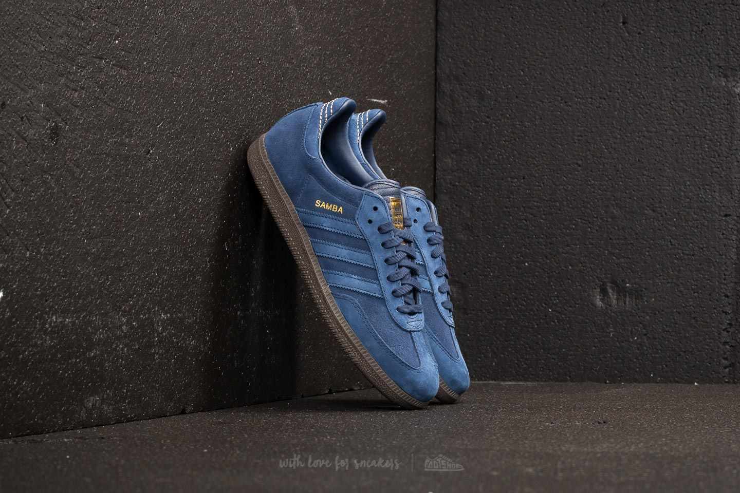 adidas samba fb dark blue dark blue gold metallic footshop