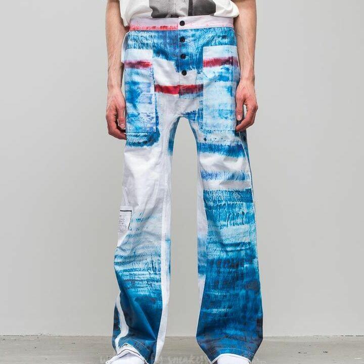 Footshop x Petra Ptáčková ZERO WASTE Wanna Go To Sea Painted Pants Blue/ White, Multicolour