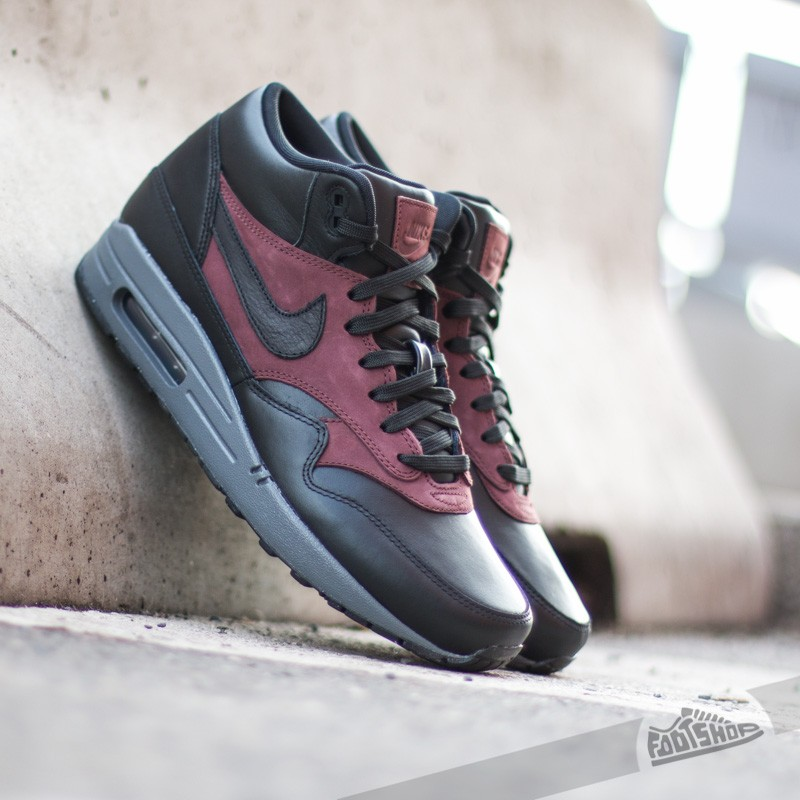 Nike Air Max 1 Mid Deluxe QS Black Black Barkroot Brown  cc592ce862aa5