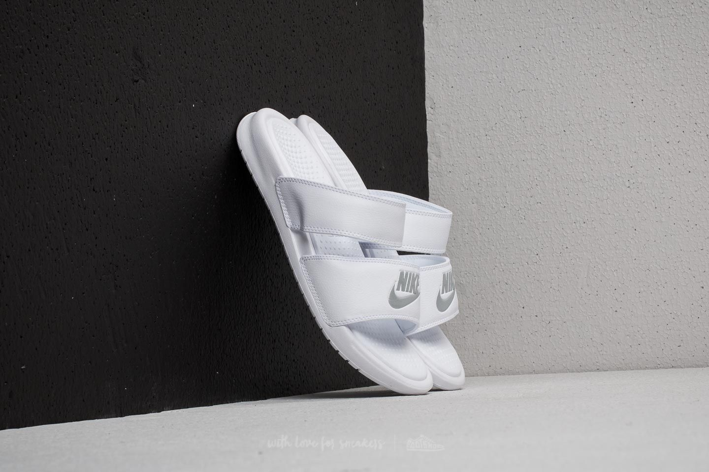 5a7f31ebb9a0 Nike Wmns Benassi Duo Ultra Slide White  Metallic Silver