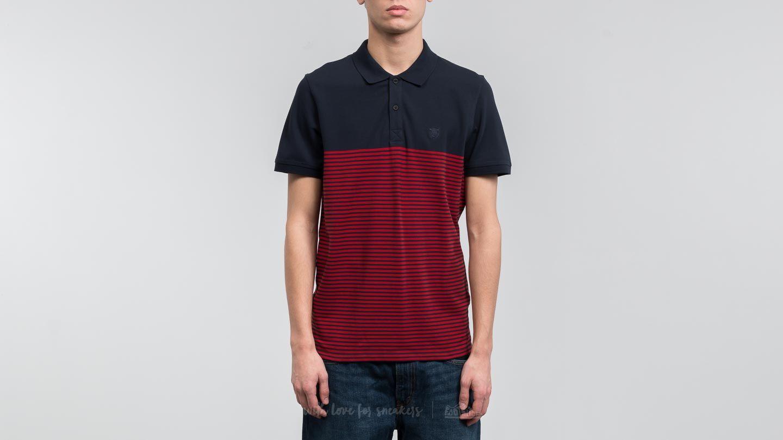 SELECTED Shharo Stripe Shortsleeve Embroidery Polo Shirt Dark Sapphire/ Placed Pom