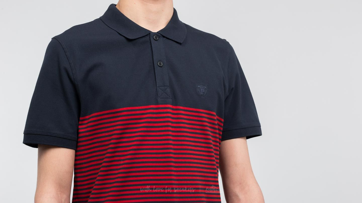 Selected Shharo Stripe Shortsleeve Embroidery Polo Shirt Dark