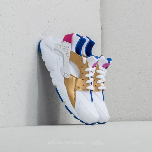 desarrollo de Él mismo Entrada  Kid´s shoes Nike Huarache Run (GS) White/ Metallic Gold/ Racer Blue
