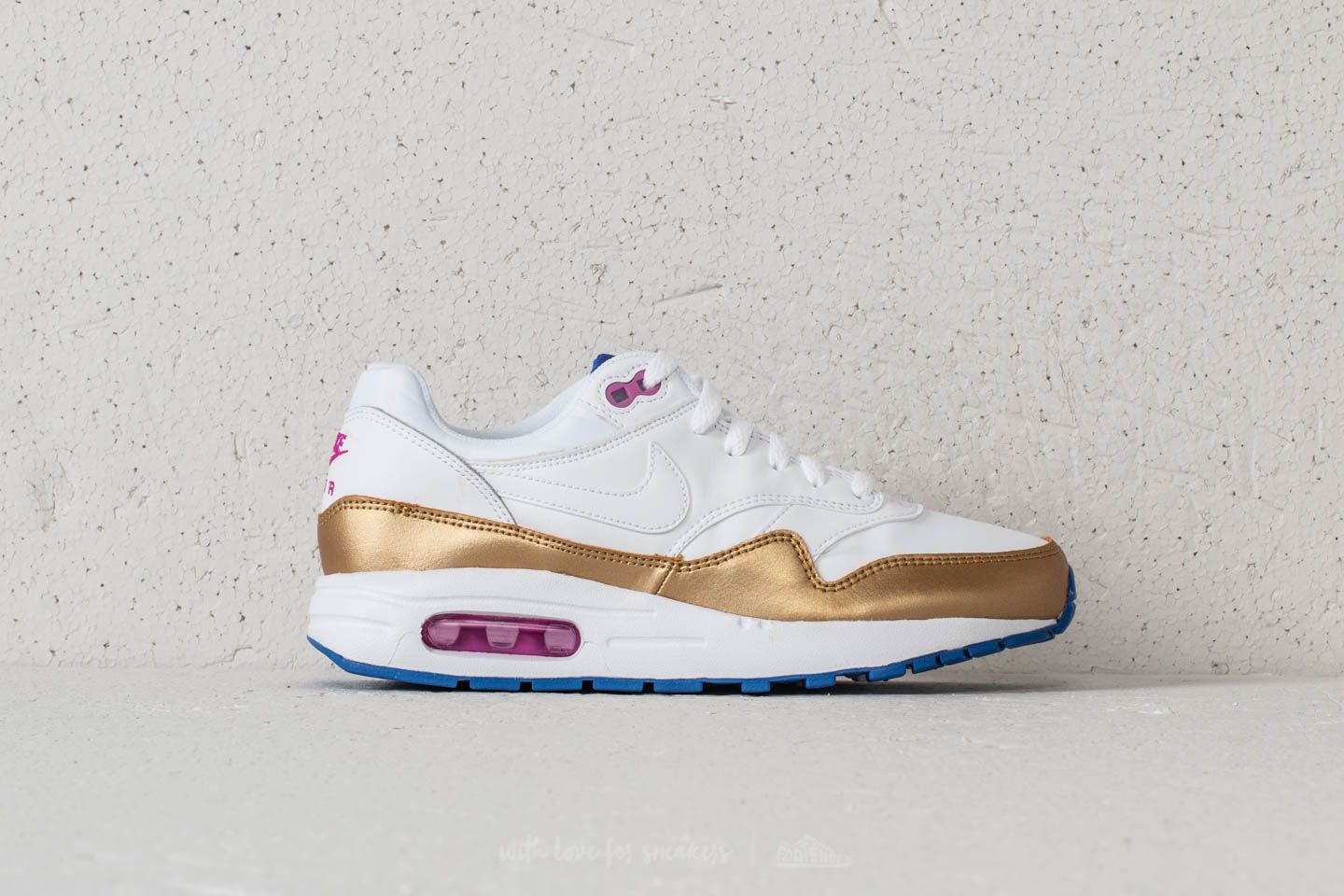 heroína medias Murmullo  Kid´s shoes Nike Air Max 1 (GS) White/ White-Metallic Gold