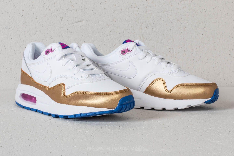 Nike Air Max 1 (GS) White White Metallic Gold | Footshop