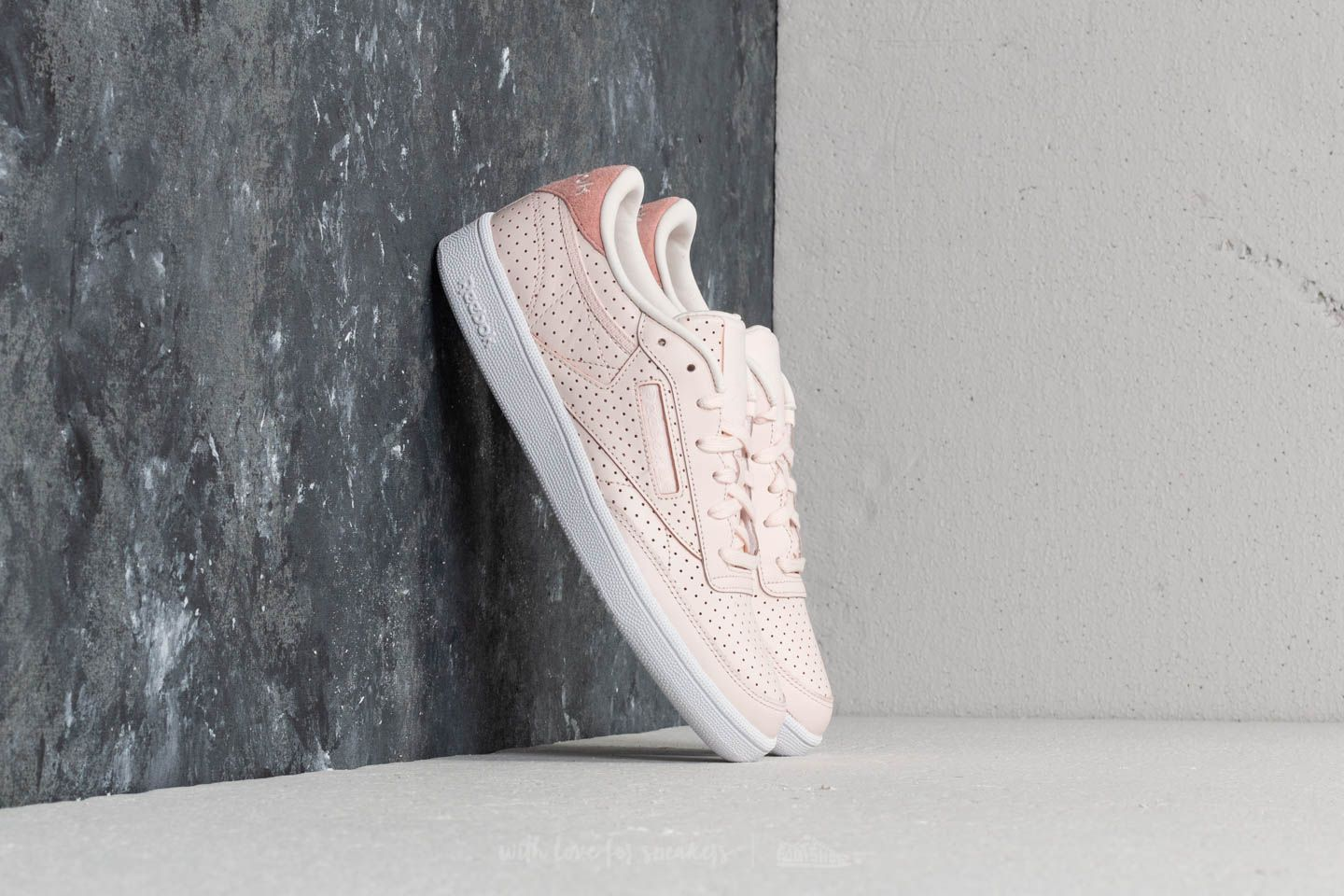Reebok Club C 85 Popped Perf Pale Pink  Chalk Pink  White  f69c90192