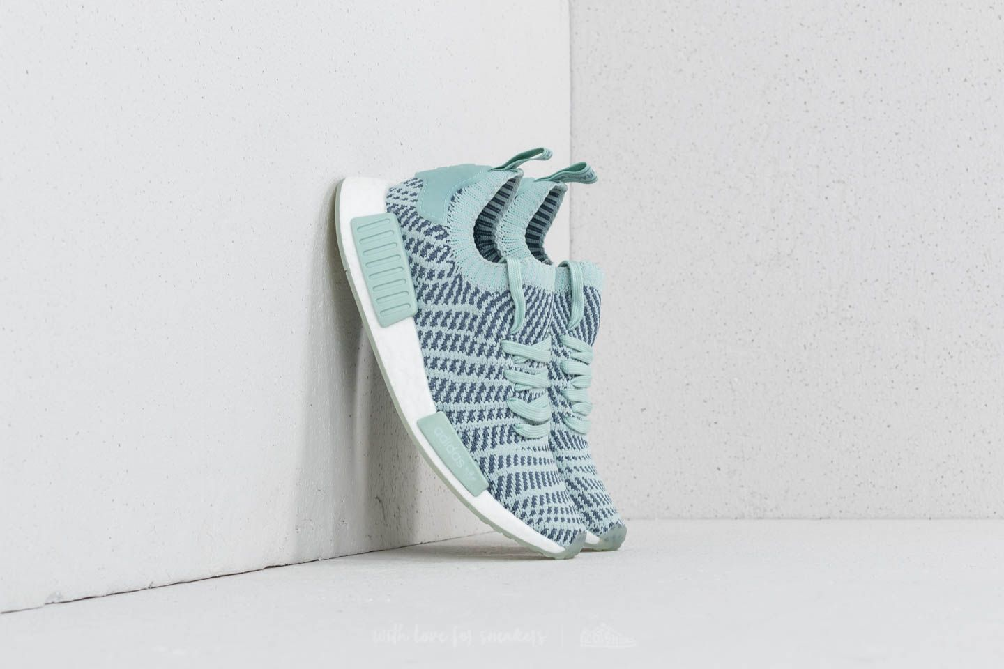uk availability dd2fe cc2f8 adidas NMD R1 STLT Primeknit W. Ash Green  Raw Steel  Ftw White