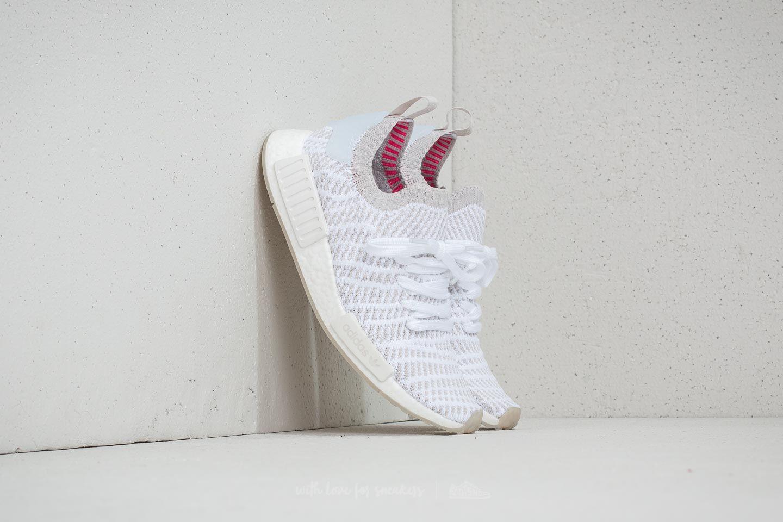 51203576a837f adidas NMD R1 STLT Primeknit Ftw White  Grey One  Solar Pink ...
