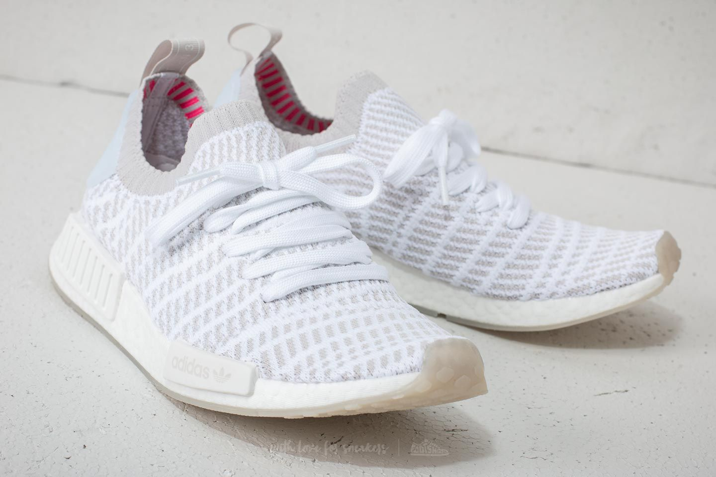 watch 90333 c3907 adidas NMD_R1 STLT Primeknit Ftw White/ Grey One/ Solar Pink ...