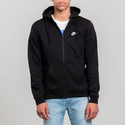 Nike Sportswear Full Zip Hoodie Black Black White   Footshop