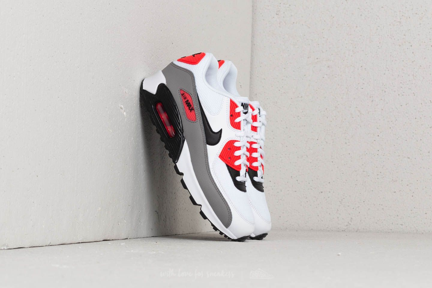 Nike Wmns Air Max 90 White  Black-Dust-Solar Red at a great 97ebfb81fc