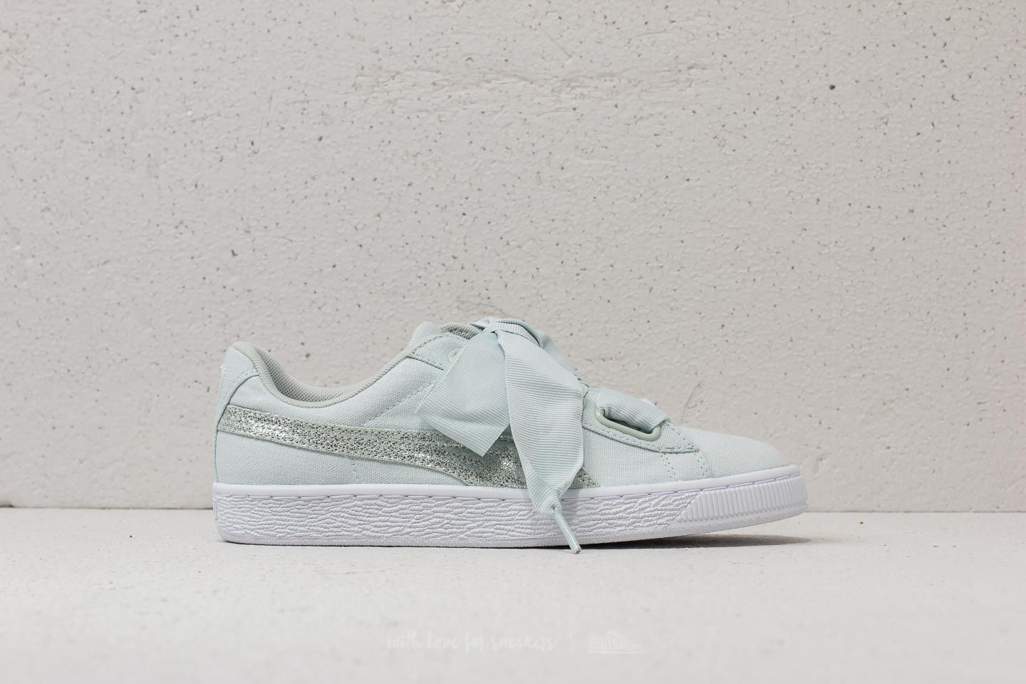 reputable site 051dd d19d3 Puma Basket Heart Canvas Wn's Blue Flower/ White/ Silver ...