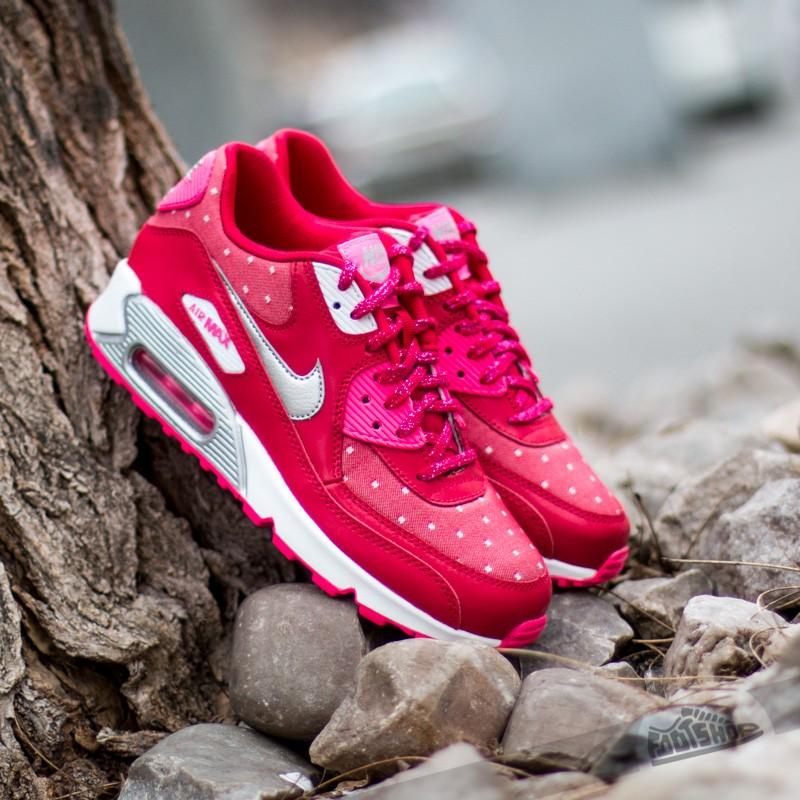Nike Wmns Air Max 90 Print (GS) Dark Red Metallic Silver-Pink  3b9b89de9