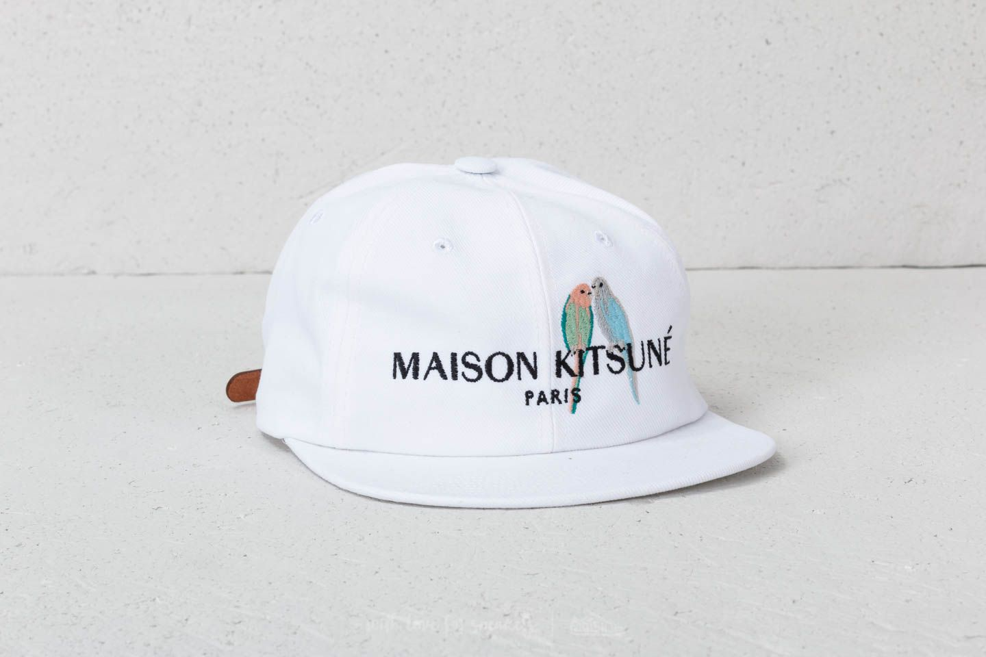 MAISON KITSUNÉ Love Birds Embroidery Baseball Cap White ... f016da5d4ac