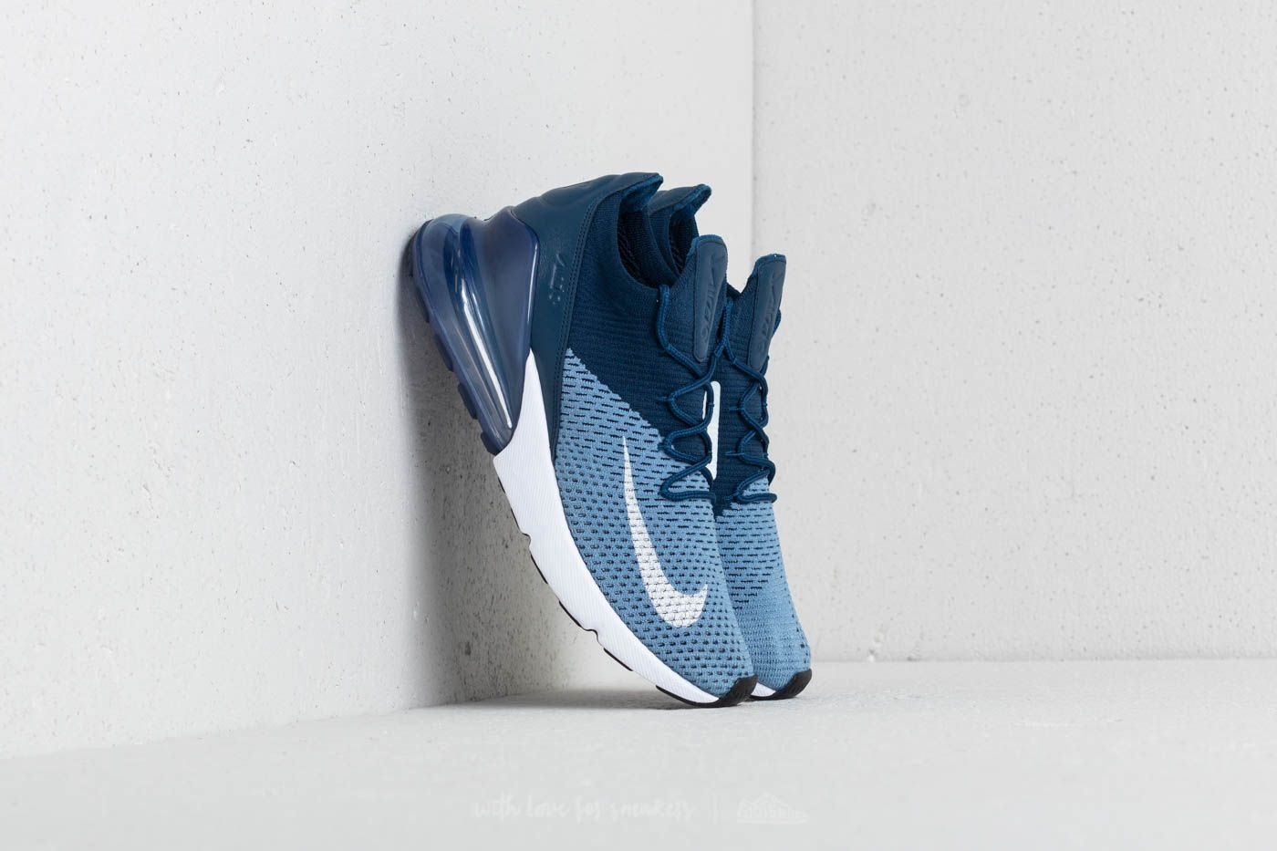 513fbe42581d Nike Air Max 270 Flyknit Work Blue  White-Brave Blue