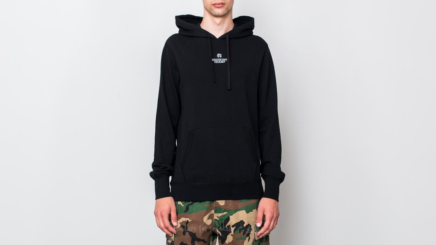 Reigning Champ Embroidered Logo Pullover Hoodie Black/ White