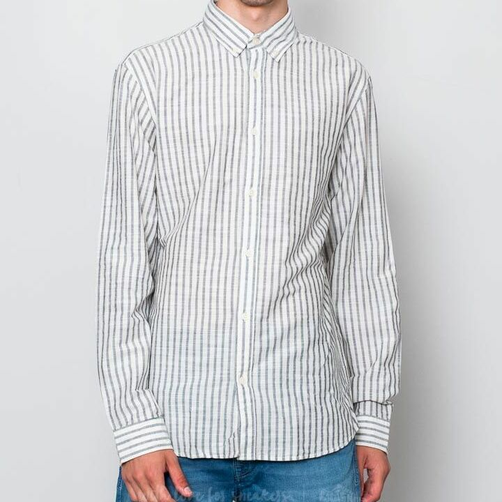 SELECTED Two William Stripe Longsleeve Shirt White