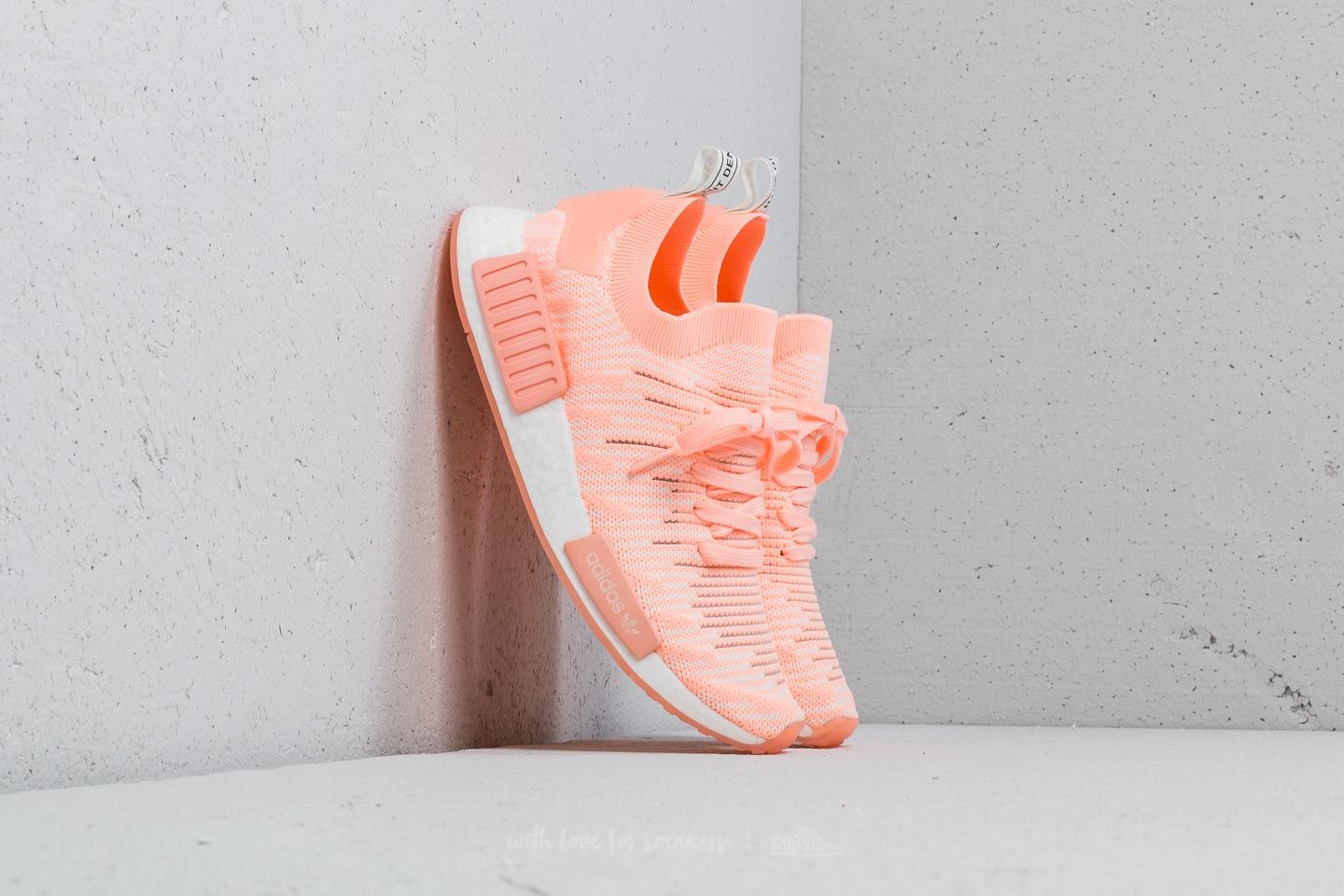 purchase cheap 7c5eb 9a027 adidas NMDR1 STLT Primeknit W Clear Orange Clear Orange Cloud White at a  great