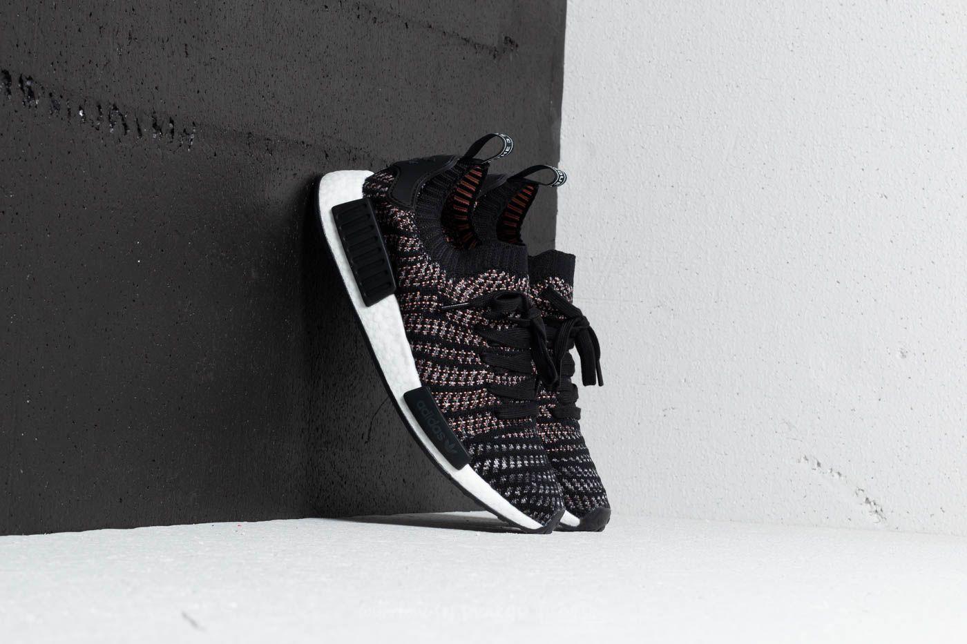 1eda9de84 adidas NMD R1 STLT Primeknit Core Black  Grey Four  Solar Pink ...
