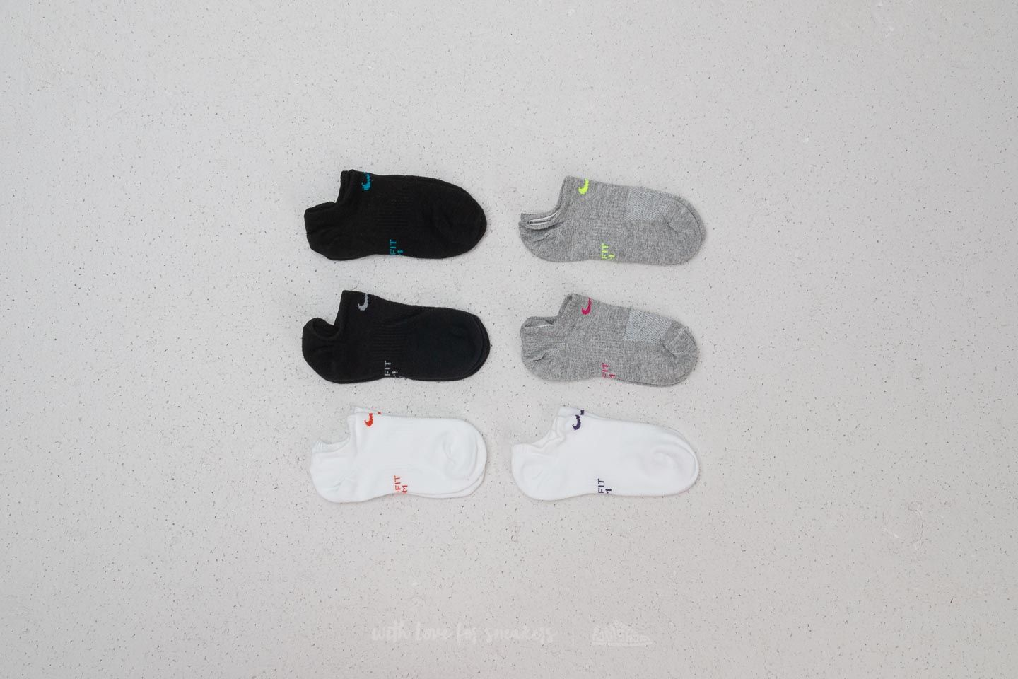 Nike 6 Pack Performance Lightweight Socks Black/ White/ Grey