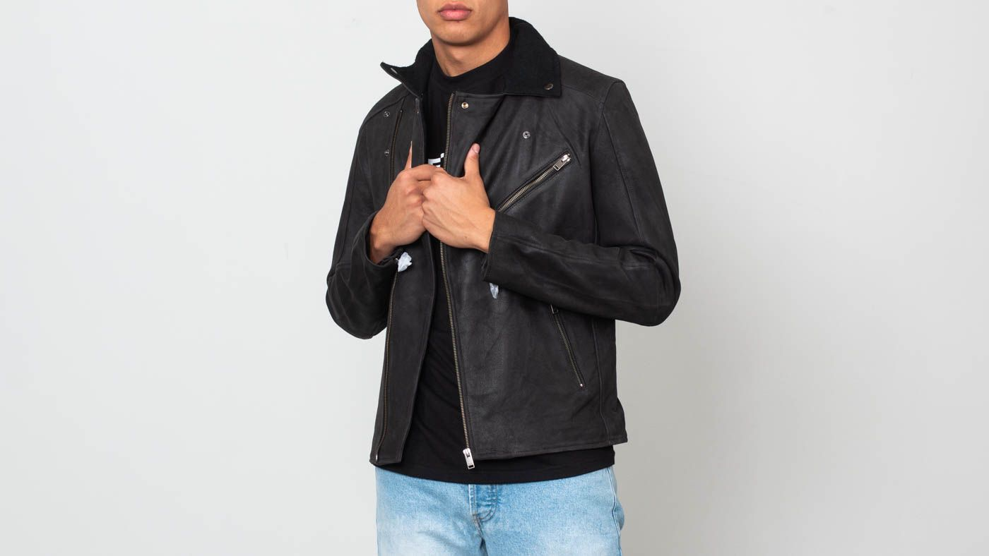SELECTED Ray Leather/ Wool Biker Jacket