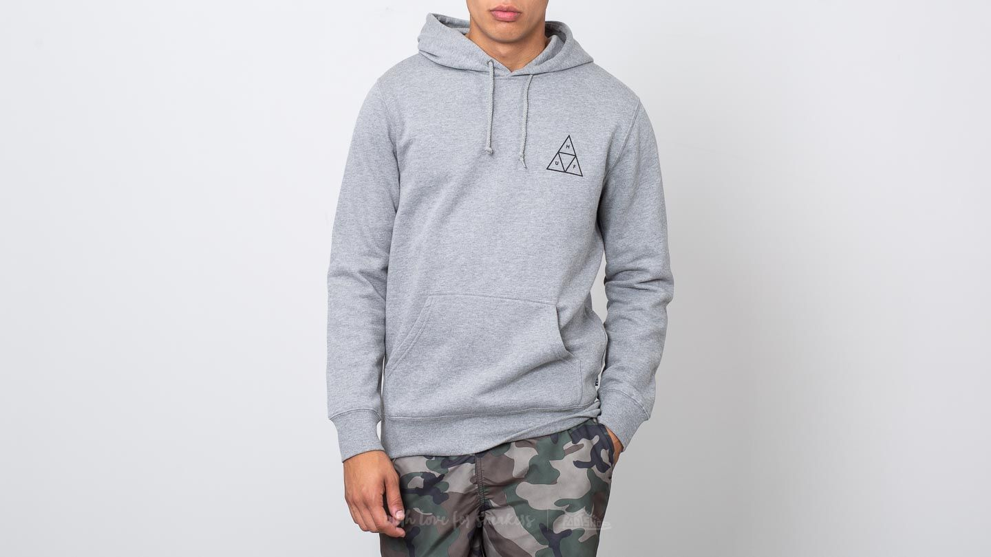 HUF Essentials Triple Triangle Pullover Hoodie Grey Heather