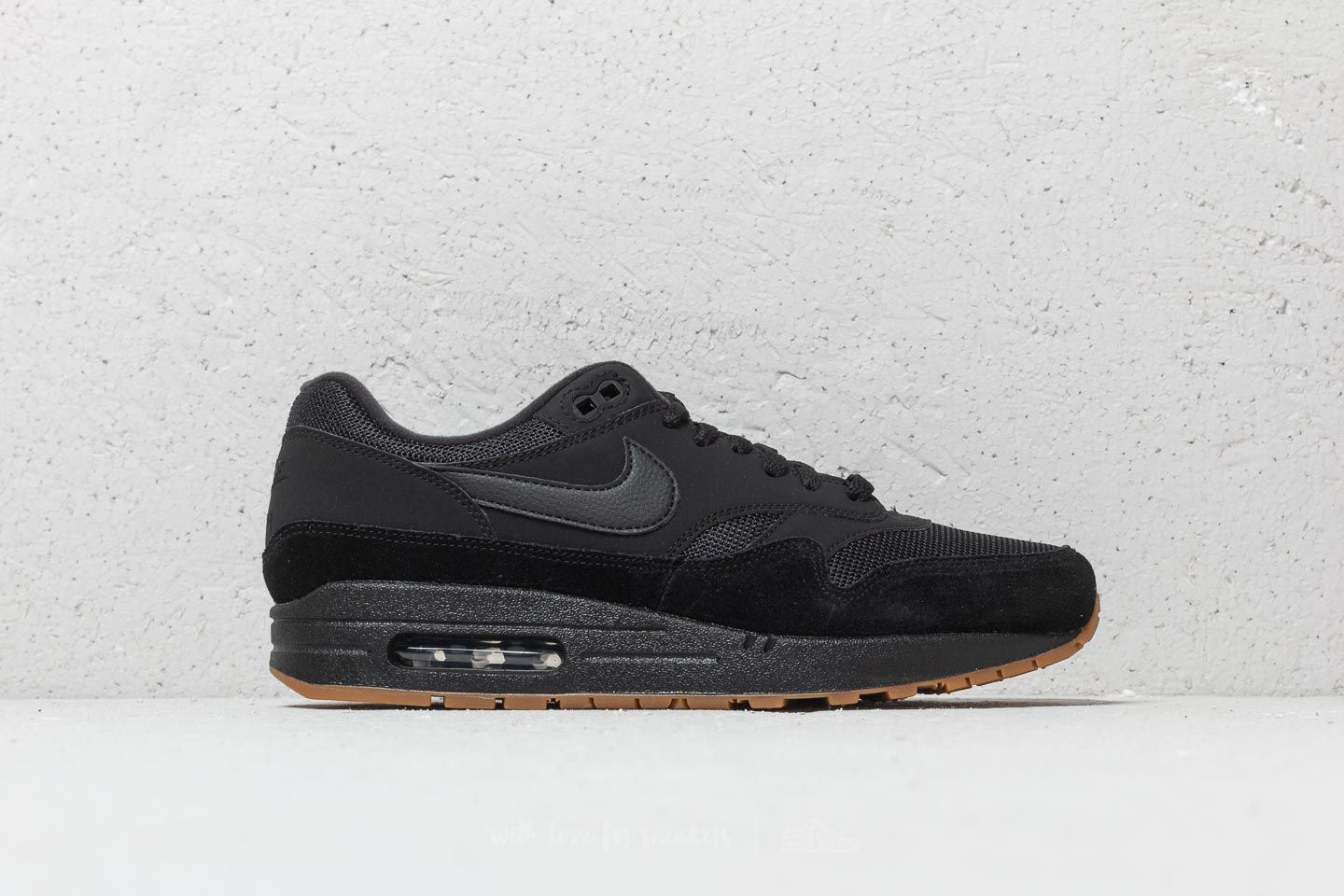 cheap for discount 846b8 4a7e2 Nike Air Max 1 Black  Black-Black-Gum Med Brown at a great