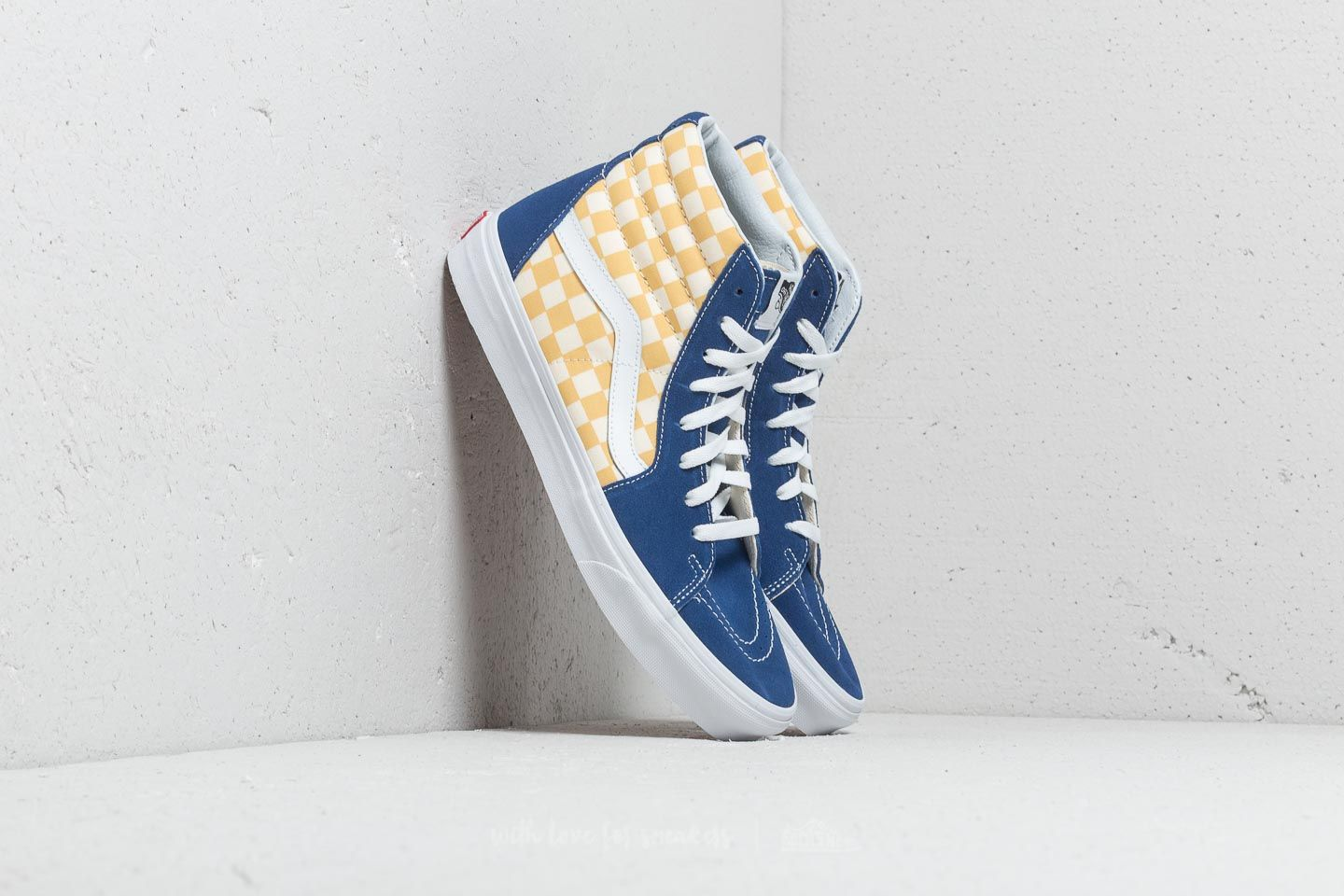 8d6113db9bba7d Vans Sk8-Hi (Bmx Checkerboard) True Blue  Yellow