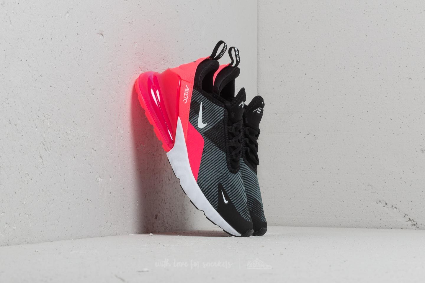 low priced 01540 2622b Nike Air Max 270 Knit Jacquard (GS). Black  White-Racer Pink