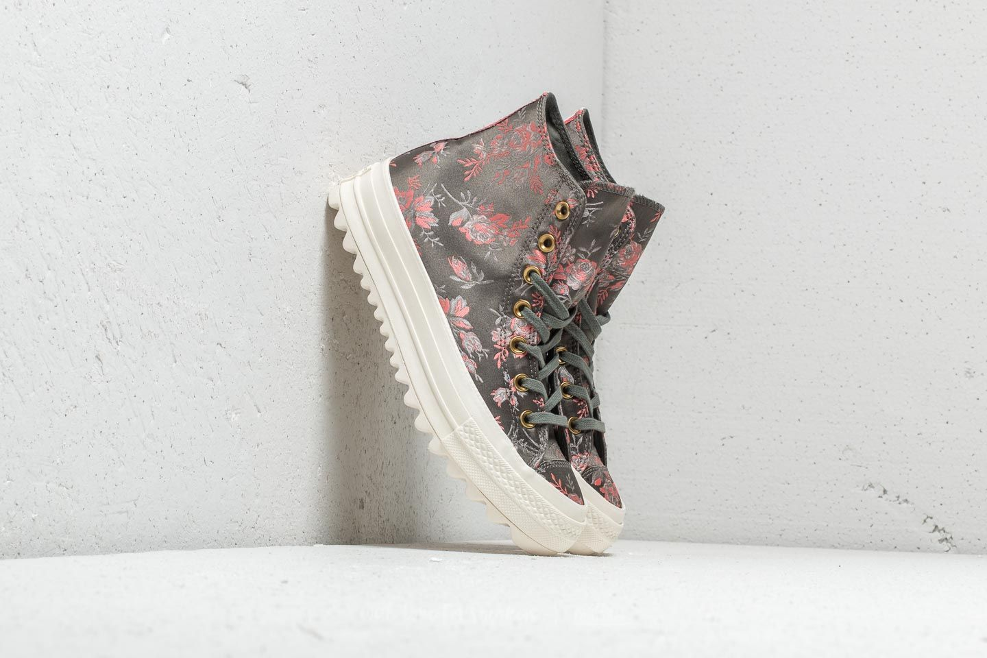 Converse Chuck Taylor All Star Lift Ripple Hi River Rock  Floral  Egret at a e316b557ec