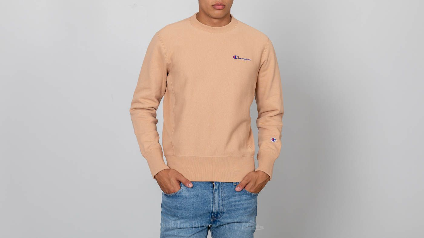 a42aaf702843 Champion Reverse Weave Script Logo Crewneck Sweatshirt Beige at a great  price 95 € buy at