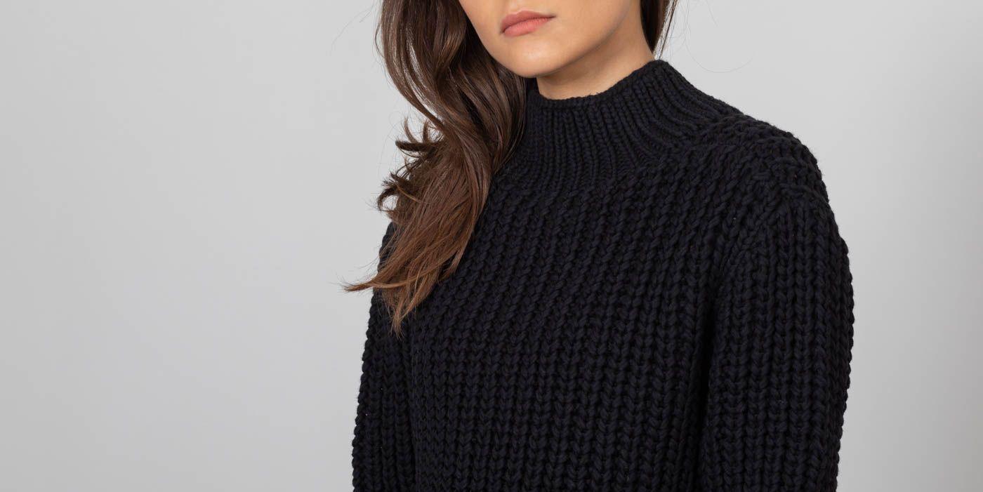 SELECTED Lemoni Longsleeve Highneck Knitted Pullover Black