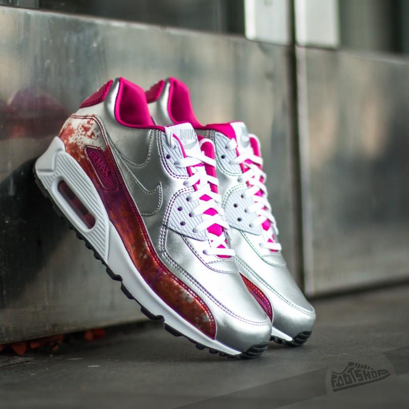 Nike WMNS Air Max 90 PRM QS Metallic Silver White Pink Pow Fireberry | Footshop