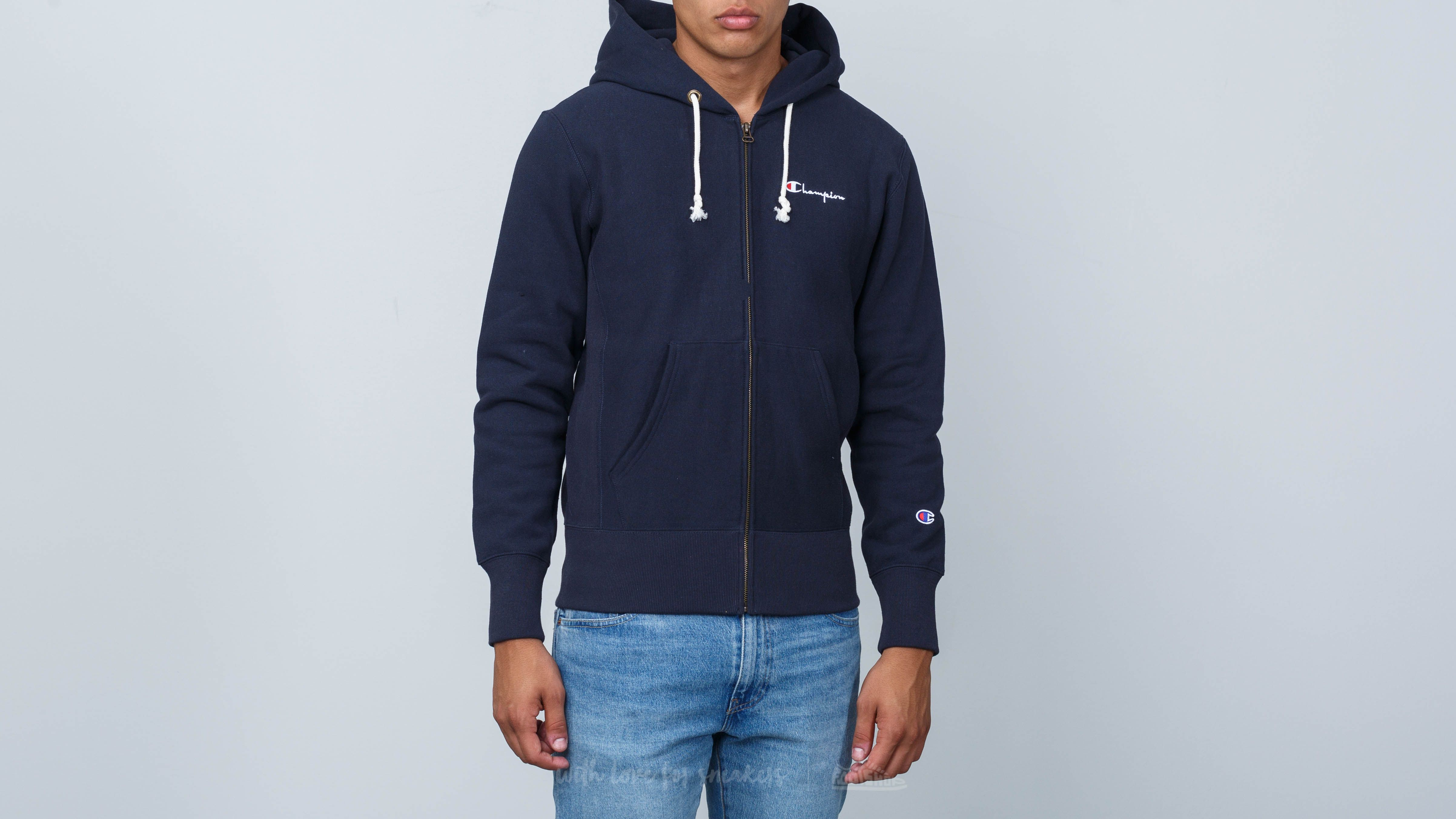 c349bc62868 Champion Hooded Full Zip Sweatshirt Navy