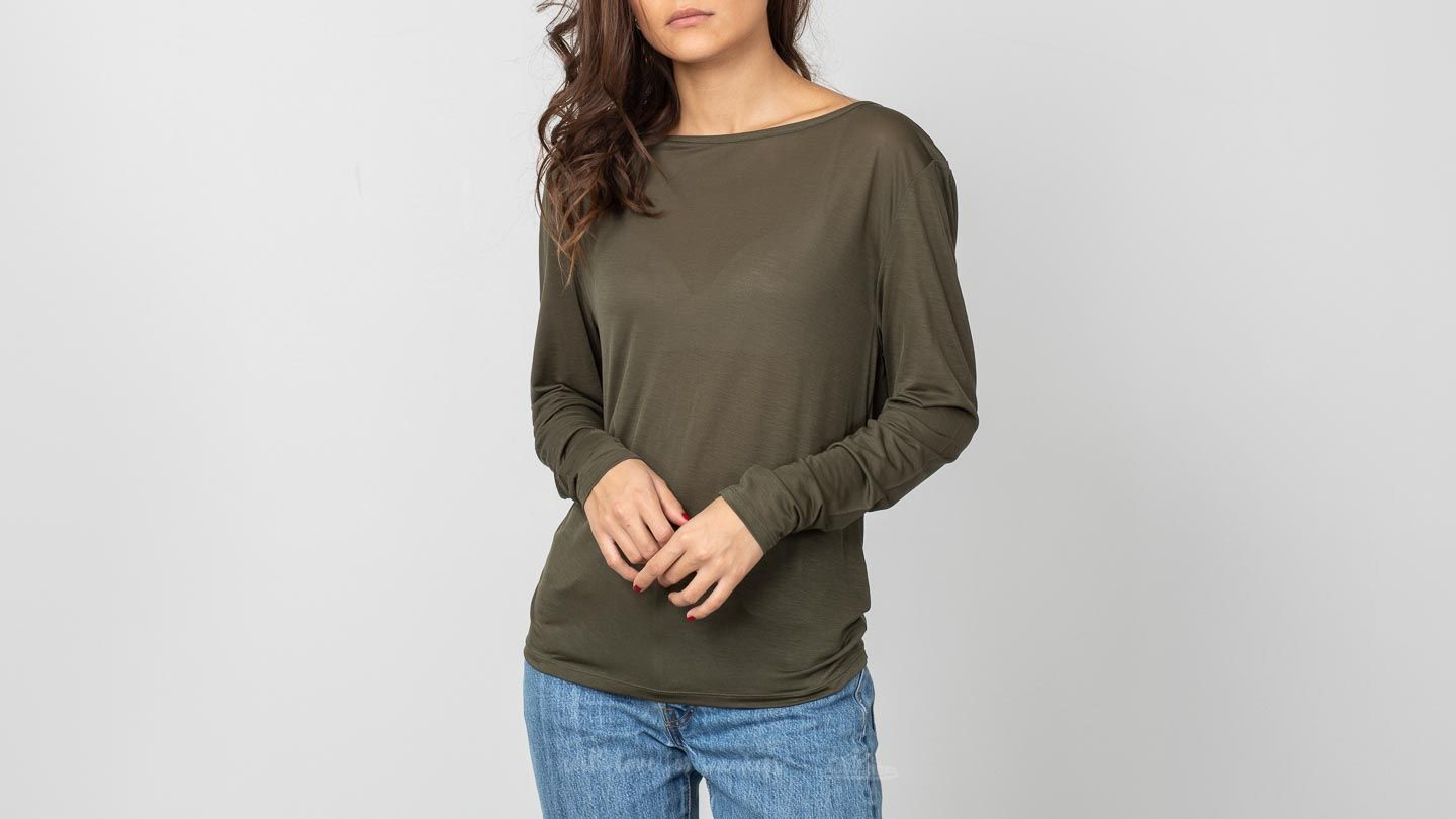 Majice T-shirt HOPE Pin Long Sleeve Tee Khaki Green