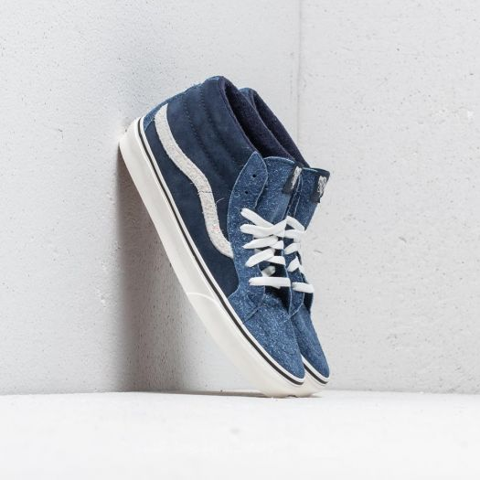 b0959a6fc1 Vans SK8-Mid Reissue (Hairy Suede Mix) Dress Blue  Snow White