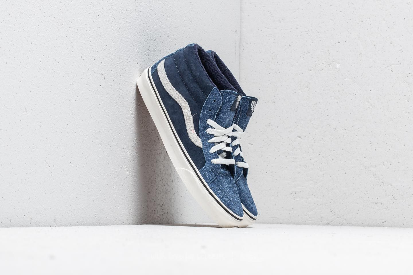 b17065e626 Vans SK8-Mid Reissue (Hairy Suede Mix) Dress Blue  Snow White ...